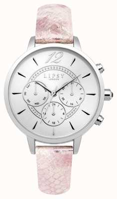 Lipsy Womans silbernes Chrono-Pink-Lederband LP506