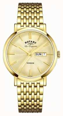 Rotary Mens windsor vergoldet Band GB90156/03