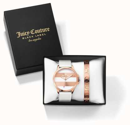 Juicy Couture Womans fergi weiße Rose Gold-Armband-Uhr-Geschenk-Set 1950007