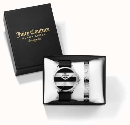 Juicy Couture Womans Jetsetter schwarz silbernes Armband und Geschenk-Set beobachten 1950011