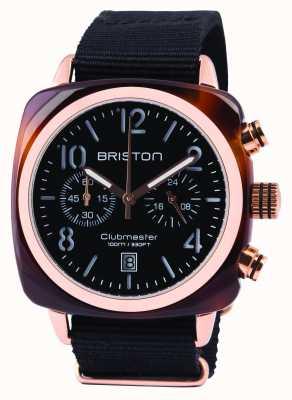 Briston Mens Clubmaster klassischen Acetat Chrono schwarz 14140.PRA.T.1.NB