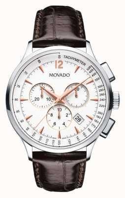 Movado Männer circa Chronograph Edelstahlgehäuse weiß 0606576