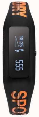 Superdry Unisex Fitness Tracker schwarz orange Silikonband SYG202BO