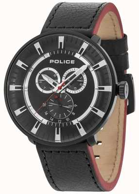 Police Mens League Multifunktions-schwarzes Leder schwarzes Zifferblatt 15040XCYB/02