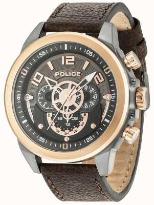 Police Herren belmont Multifunktions-braunes Leder Rotguss Zifferblatt 15036JSUR/61