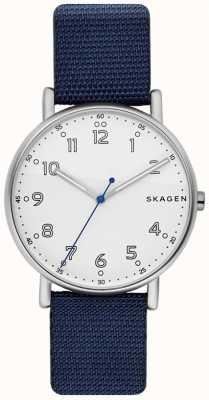 Skagen Mens signatur blaues Armband weißes Zifferblatt SKW6356