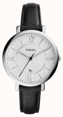 Fossil Womans jacqueline silbernes Zifferblatt schwarz Leder ES3972
