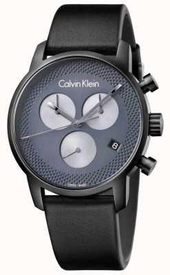 Calvin Klein Mens Stadt schwarzes Leder grau Chrono K2G177C3