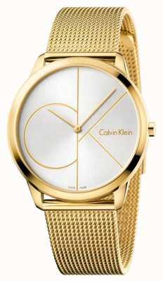 Calvin Klein Herren Minimaluhr | goldgitter edelstahlarmband | K3M21526