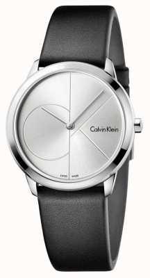 Calvin Klein Mens minimal schwarzes Leder silber Zifferblatt K3M221CY