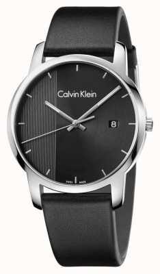 Calvin Klein Mens Stadt schwarzes Leder schwarzes Zifferblatt K2G2G1C1