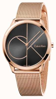 Calvin Klein Mens minimales Roségold Mesh schwarzes Zifferblatt K3M21621