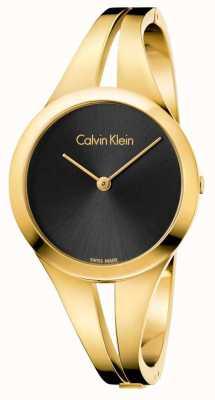 Calvin Klein Womans süchtig Gold getönten Armreif schwarz Zifferblatt K7W2S511