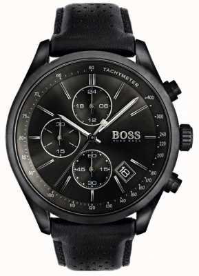 Boss Grand-Prix-Chronograph für Herren, schwarzes Lederarmband, schwarzes Zifferblatt 1513474