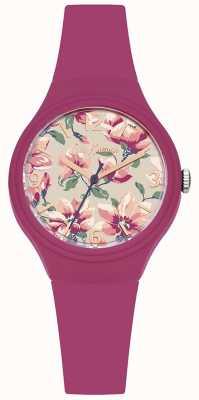 Cath Kidston Womans rosa Silikon Strap Blumen gedruckt Zifferblatt CKL029P