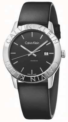 Calvin Klein Womans steady schwarzes Leder schwarzes Zifferblatt K7Q211C1
