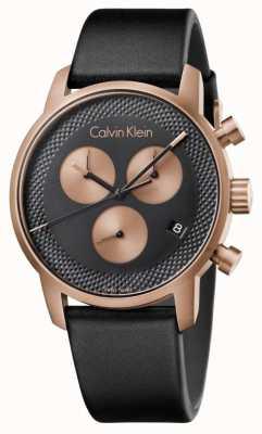 Calvin Klein Mens Stadt Chronograph blaues Zifferblatt schwarz Leder K2G17TC1