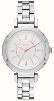 DKNY Womans Ellington Stahl silberne Uhr NY2582