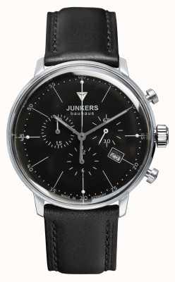 Junkers Mens bauhaus Chronograph schwarzes Lederband Zifferblatt schwarz 6088-2