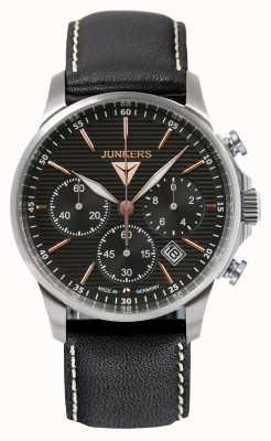 Junkers Mens tante ju Chronograph schwarzes Lederband Zifferblatt schwarz 6878-5
