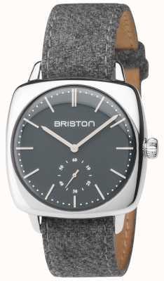 Briston Mens Clubmaster Vintage graues Zifferblatt grau Stoffband 17440.PS.V.17.LFG