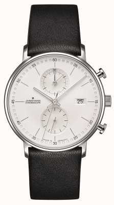 Junghans Form c Chronoskop Kalbsleder schwarzes Armband 041/4770.00