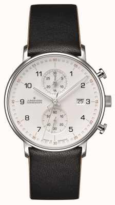 Junghans Form C Chronoskop Kalbsleder schwarzer Armband mit Zahlen 041/4771.00