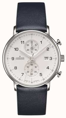 Junghans Form c Chronoskop Kalbsleder blau Armband mit Zahlen 041/4775.00