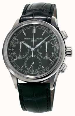 Frederique Constant Flyback-Chronograph Herstellung schwarzes Krokodilleder FC-760DG4H6