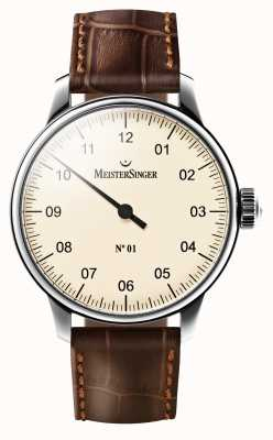 MeisterSinger Mens no 01 mechanische braun Lederband Creme Zifferblatt AM3303