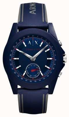 Armani Exchange Verbundene, intelligente Armbanduhr aus blauem Silikon AXT1002