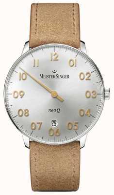 MeisterSinger Mens Form und Stil neo q Quarz Sunburst Silber NQ901GN