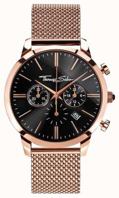 Thomas Sabo Mens ewige Rebell Rose vergoldet Mesh Armband Chrono WA0246-265-203-42