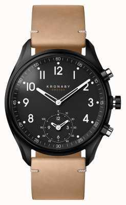 Kronaby 43mm Apex Bluetooth schwarz PVD Gehäuse / beige Leder Smartwatch A1000-0730