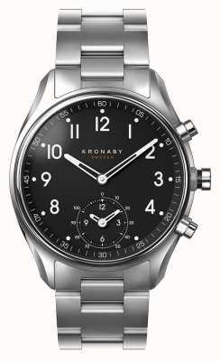 Kronaby 43mm apex bluetooth edelstahl schwarz zifferblatt smartwatch A1000-1426