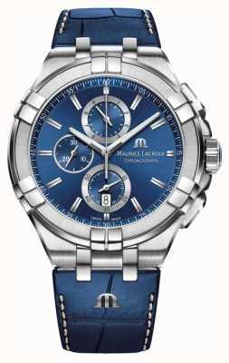 Maurice Lacroix Mens Aikon Blau Chronograph Blaues Lederarmband AI1018-SS001-430-1
