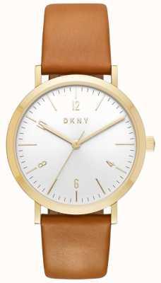 DKNY Womans Minetta tan Lederband Gold Gehäuse Uhr NY2613