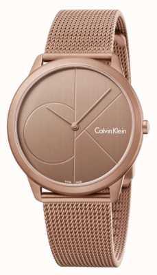 Calvin Klein Mens minimal gold braun Edelstahl Mesh Armband K3M11TFK