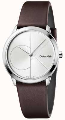 Calvin Klein Womans minimal braunes Lederband Silber Zifferblatt K3M221G6