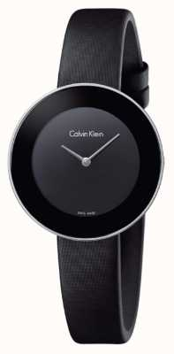 Calvin Klein Womans schickes schwarzes Lederband schwarzes Zifferblatt K7N23CB1