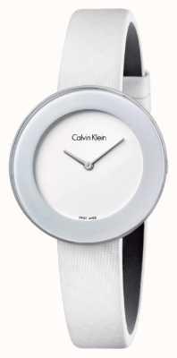 Calvin Klein Womans schickes weißes Lederband weißes Zifferblatt K7N23TK2