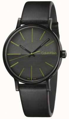 Calvin Klein Mens Boost schwarze Leder grüne Indizes K7Y214CL