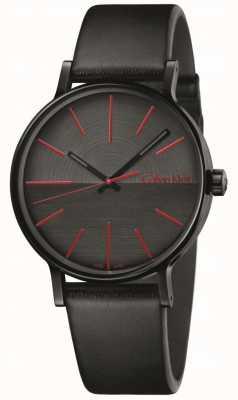 Calvin Klein Mens Boost schwarze Leder rote Indizes K7Y214CY