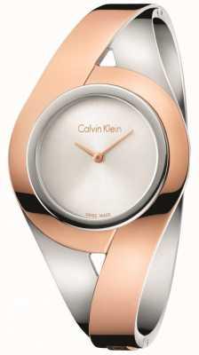 Calvin Klein Womans sinnlich zwei Ton Edelstahl Armreif Silber Zifferblatt m K8E2M1Z6