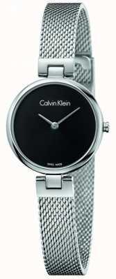 Calvin Klein Womans authentisches Edelstahl-Mesh-Armband schwarzes Zifferblatt K8G23121