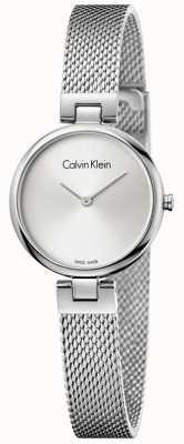 Calvin Klein Womans authentischen Edelstahl Mesh Armband Silber Zifferblatt K8G23126