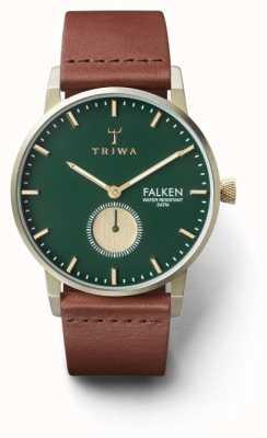 Triwa Mens Pine falken braunes Leder grünes Zifferblatt FAST112-CL010217