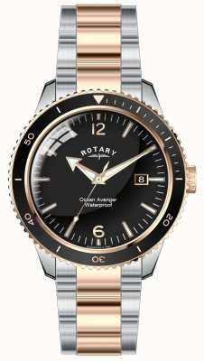 Rotary Mens Ocean Avenger zwei Ton schwarzes Zifferblatt GB02695/04