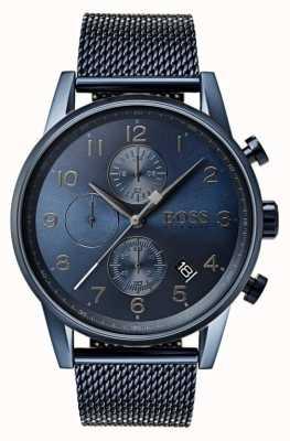 Boss Herren Navigator blau Chronograph Mesh Metalluhr 1513538