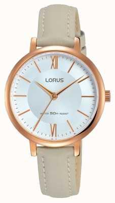 Lorus Womans sunray Zifferblatt weich grau Lederband RG264LX7